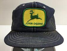 Vintage John Deere Denim Trucker Hat Louisville Mfg Patch Snapback Rare 80's