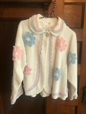 New listing Womens Vintage 90s Stan Herman Large Floral Chenille White Robe Jacket Shirt