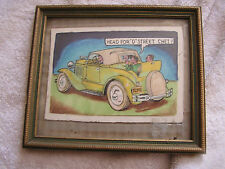 """Vintage Hot Rod Drawing """"Head for """"D"""" Street Chet"""""""