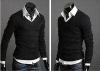 Men Casual Loose Fit V-neck Pullover Sweatshirt Sweater T-Shirt Jumper Tops Tee