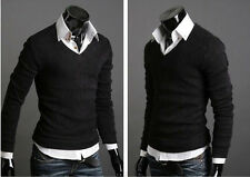 Men Casual Long Sleeve V-neck Knitted Cardigan Pullover Jumper Sweater Shirt Top