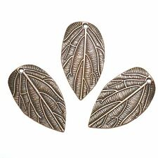 M386sp Antiqued Copper Textured Leaf 35mm Double-Sided Drop Pendant 15pc