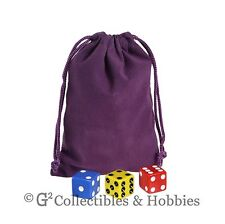 "NEW 4"" x 5.5"" Purple Velveteen Cloth Dice Bag RPG D&D Counter Pouch"