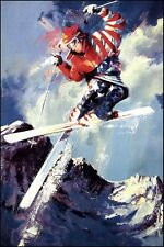 "Malcolm Farley ""Bird of Prey"" offset lithograph skier unsigned  L@@K"