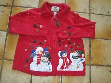 Tiara Petites Ugly Christmas Sweater Red Snowman Beaded Embellished SZ PM  Party