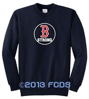 B Strong Boston Marathon Navy Fleece Sweat Shirt Tribute to Runners Sm to 4XL