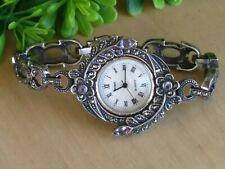 "Bracelet Watch 6"" Wrist New Batt Boma 925 Flower Amethyst /Marcasite Mop Dial"