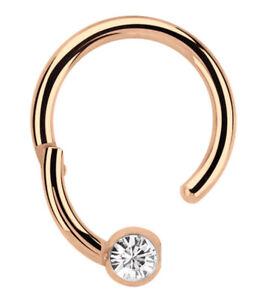 Lippenbändchen Piercing Ring BCR 1,2mm Rose Gold Clicker Verschluss und Zirkonia