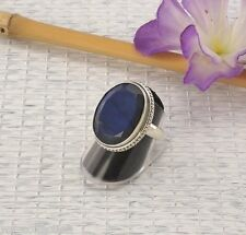 Labradorit Ring Sterlingsilber/925 Facettiert Oval Blau Grösse 60 (19,1mm Ø) NEU