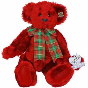 """Annette Funicello 14"""" Rosie Red Candy Cane Christmas Bear Plaid Bow w/ Tags, Pin"""