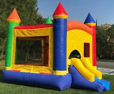 Commercial Inflatable Bounce House Rainbow Combo Wet Dry Slide 100% PVC Vinyl