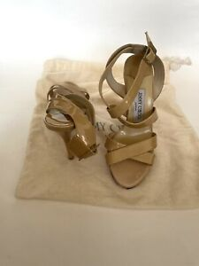 JIMMY CHOO Nude Patent Leather Strappy Platform Heels Sandals 36