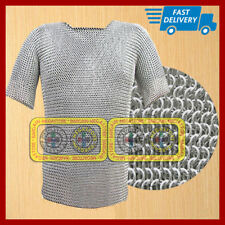 Medieval Aluminium Solid Chain Mail Shirt Butted Chainmail Haubergeon Costume