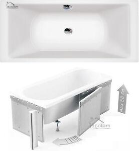 Badewanne Wanne Rechteck 200 x 90 cm Füße Ab /Überlauf Acryl Styroporverkleidung