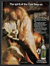 1978 Borzoi Russian Wolfhound Wolfschmidt Vodka Vintage Photo Ad Bar Decor