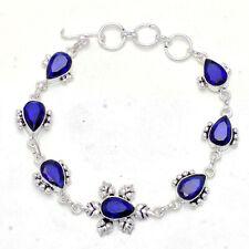 "Jewelry Bracelet 7-8"" Jw055 Blue Sapphire Gemstone Handmade"