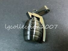 Black Grenade / Free Shipping+Pouch+Cord New Man Men's Stainless Steel Pendant