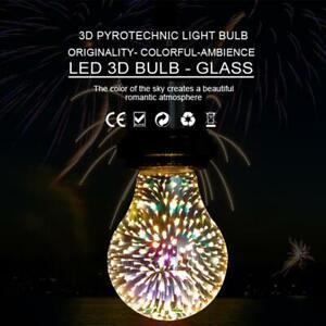 3D Colourful Fireworks Bulb Glass Light Alluminum  LED  Vintage  E27