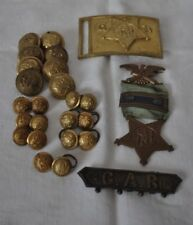 Union Civil War Veteran Grand Army of the Republic Medal, Buttons, Belt Buckle