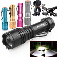 LED Tactical T6 LED Flashlight Zoomable AA 14500 Torch Light Bicycle Lamp Mount
