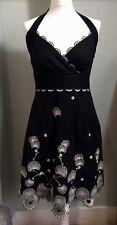 KAREN MILLEN Beautiful Black Halter Neck Dress Size 10 12 Embroidery Tiered Hem