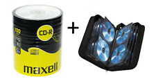100 Maxell CD-R 700mb 80min 52x Blank Recordable CDs With 104 CD Wallet Holder
