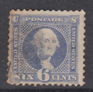 "USA Scott #115  6 cent Washingtoon ultramarine  ""G""  Grill  F  *"