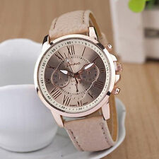Hot Women Ladies Geneva Stainless Steel Leather Band Quartz Analog Wrist Watch