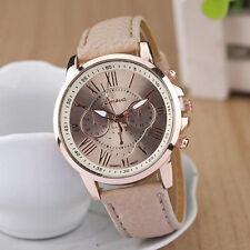 Hot Women Ladies Geneva Stainless Steel Leather Band Quartz Analog Wrist Watch