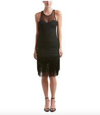 NWT $528 PARKER GABE BLACK FRINGE FITTED BODY CON BANDAGE FLAPPER DRESS XS (0 2)