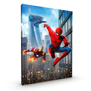 Iron Man Spiderman Avengers CANVAS Framed Glossy with Metal Hanger Various Sizes