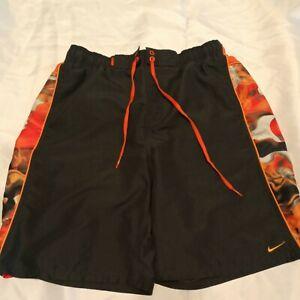 Nike Mens Swim Trunks Large Gray/Orange Mesh NO Lining Pockets Drawstring Shorts