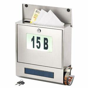 Postkasten: Edelstahl-Briefkasten, Solar-Leucht-Hausnummer, Zeitungsfach, 3 LEDs