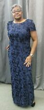 ALEX EVENINGS Women Gown Navy Blue Raised Flowers Sequin Shift Fit Size 16W