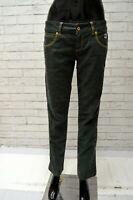 Pantalone Donna ROY ROGERS Taglia 53 Jeans Corto alla Caviglia Pants Verde Scuro