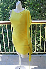 XXS BEBE Kardashian Bright Yellow Silver Tunic One Sleeve Side Tie Ruched xs 0 2