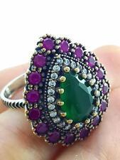 Fashion Women 925 Sterling Silver EL SULTAN JEWELRY Emerald Ring Size 8 R1980