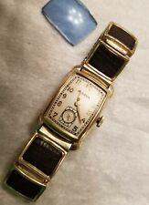 Vintage Bulova Watch 10K rolled gold 17jewl  alligator band Art Deco