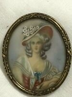 ANOTHER GREAT ANTIQUE HANDPAINTED MINIATURE w/ ORNATE OVAL  BRONZE FRAME
