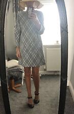 Primark Viscose Blend Grey Long Sleeved Mod Style Dress Size 12