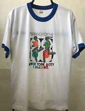 NYC Marathon 87 T-shirt True Vtg Traning Thin Soft USA Ringer L/XL NYRRC NOS New