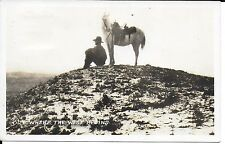 U S Navy 1944 RPPC - Out Where the West Begins – Cowboy & Horse on a Knoll