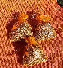 3 sachets de lavande séchée  en organza orange motif coeur 100% bio pot pourri