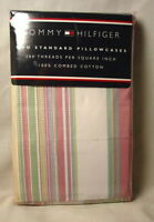 Tommy Hilfiger Standard Size Cotton Pillowcases CAMDEN STRIPE RAINBOW NEW NWT
