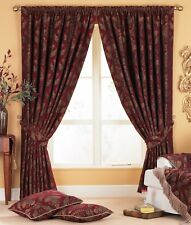 Riva Paoletti Shiraz Pencil Pleat Curtains 229 X 229cm Burgundy