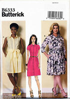 BUTTERICK SEWING PATTERN 6333 MISSES 8-16 SHIRT DRESS W/ COLLAR & SKIRT OPTIONS