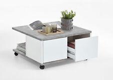 Couchtisch Wohnzimmertisch Tisch F659-001 Beton Weiß Edelglanz