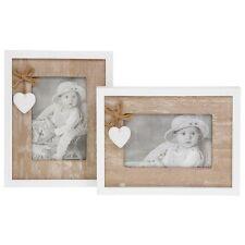 "Shabby Chic Provence Photo Frame Natural & White Wood Frame 4 X 6 "" Portrait"