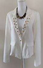 Charlotte Russe Ivory w/ Gold Spikes Dressy Blazer Jacket SZ XL