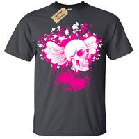 Kids Boys Girls Floral Skull Wings gothic punk rock T-Shirt